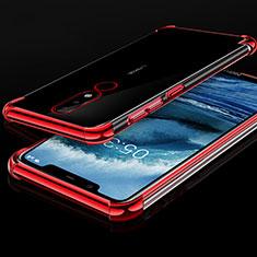 Custodia Silicone Trasparente Ultra Sottile Cover Morbida H01 per Nokia X5 Rosso
