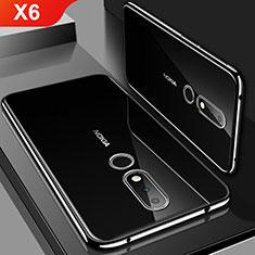 Custodia Silicone Trasparente Ultra Sottile Cover Morbida H01 per Nokia X6 Nero