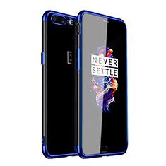 Custodia Silicone Trasparente Ultra Sottile Cover Morbida H01 per OnePlus 5 Blu
