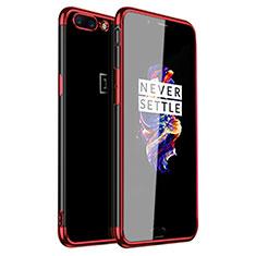Custodia Silicone Trasparente Ultra Sottile Cover Morbida H01 per OnePlus 5 Rosso