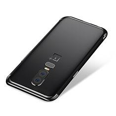 Custodia Silicone Trasparente Ultra Sottile Cover Morbida H01 per OnePlus 6 Nero