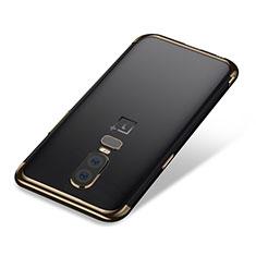Custodia Silicone Trasparente Ultra Sottile Cover Morbida H01 per OnePlus 6 Oro