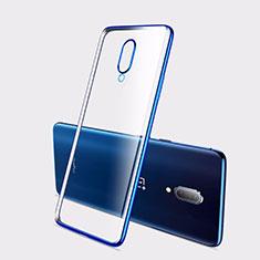 Custodia Silicone Trasparente Ultra Sottile Cover Morbida H01 per OnePlus 7 Blu