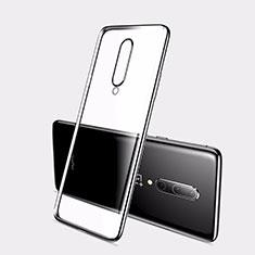 Custodia Silicone Trasparente Ultra Sottile Cover Morbida H01 per OnePlus 7 Nero