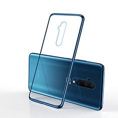 Custodia Silicone Trasparente Ultra Sottile Cover Morbida H01 per OnePlus 7T Pro Blu