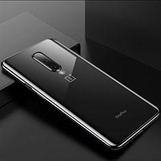 Custodia Silicone Trasparente Ultra Sottile Cover Morbida H01 per OnePlus 8 Nero