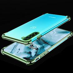 Custodia Silicone Trasparente Ultra Sottile Cover Morbida H01 per OnePlus Nord Verde