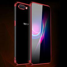 Custodia Silicone Trasparente Ultra Sottile Cover Morbida H01 per Oppo A12e Rosso