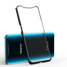 Custodia Silicone Trasparente Ultra Sottile Cover Morbida H01 per Oppo Find X Nero