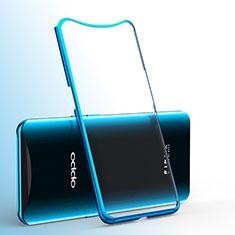 Custodia Silicone Trasparente Ultra Sottile Cover Morbida H01 per Oppo Find X Super Flash Edition Blu