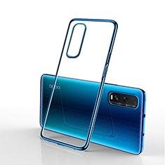 Custodia Silicone Trasparente Ultra Sottile Cover Morbida H01 per Oppo Find X2 Blu