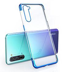 Custodia Silicone Trasparente Ultra Sottile Cover Morbida H01 per Oppo Reno3 Blu
