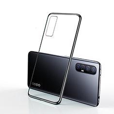 Custodia Silicone Trasparente Ultra Sottile Cover Morbida H01 per Oppo Reno3 Pro Nero