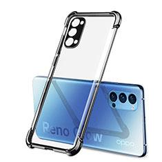 Custodia Silicone Trasparente Ultra Sottile Cover Morbida H01 per Oppo Reno4 5G Nero