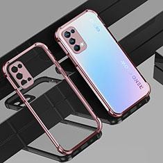 Custodia Silicone Trasparente Ultra Sottile Cover Morbida H01 per Oppo Reno5 Pro 5G Oro Rosa