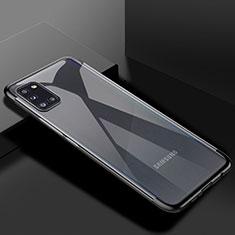 Custodia Silicone Trasparente Ultra Sottile Cover Morbida H01 per Samsung Galaxy A31 Nero