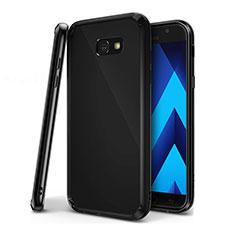 Custodia Silicone Trasparente Ultra Sottile Cover Morbida H01 per Samsung Galaxy A7 (2017) A720F Nero