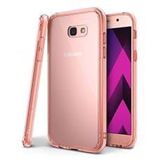 Custodia Silicone Trasparente Ultra Sottile Cover Morbida H01 per Samsung Galaxy A7 (2017) A720F Rosa