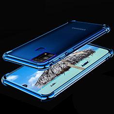 Custodia Silicone Trasparente Ultra Sottile Cover Morbida H01 per Samsung Galaxy M21s Blu
