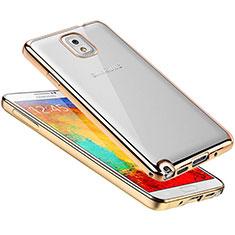 Custodia Silicone Trasparente Ultra Sottile Cover Morbida H01 per Samsung Galaxy Note 3 N9000 Oro