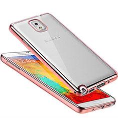 Custodia Silicone Trasparente Ultra Sottile Cover Morbida H01 per Samsung Galaxy Note 3 N9000 Oro Rosa
