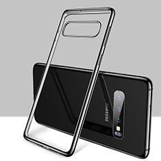 Custodia Silicone Trasparente Ultra Sottile Cover Morbida H01 per Samsung Galaxy S10 Nero