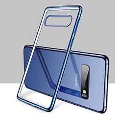 Custodia Silicone Trasparente Ultra Sottile Cover Morbida H01 per Samsung Galaxy S10 Plus Blu