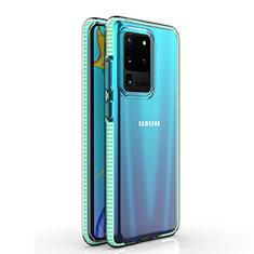 Custodia Silicone Trasparente Ultra Sottile Cover Morbida H01 per Samsung Galaxy S20 Ultra 5G Ciano