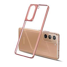 Custodia Silicone Trasparente Ultra Sottile Cover Morbida H01 per Samsung Galaxy S21 5G Oro