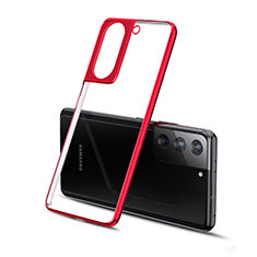 Custodia Silicone Trasparente Ultra Sottile Cover Morbida H01 per Samsung Galaxy S21 5G Rosso