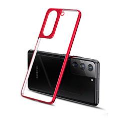 Custodia Silicone Trasparente Ultra Sottile Cover Morbida H01 per Samsung Galaxy S21 Plus 5G Rosso