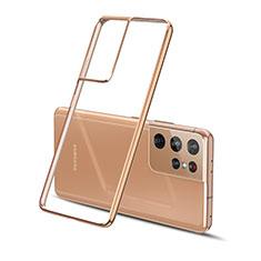 Custodia Silicone Trasparente Ultra Sottile Cover Morbida H01 per Samsung Galaxy S21 Ultra 5G Oro
