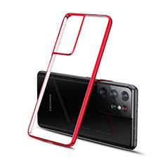 Custodia Silicone Trasparente Ultra Sottile Cover Morbida H01 per Samsung Galaxy S21 Ultra 5G Rosso