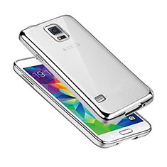 Custodia Silicone Trasparente Ultra Sottile Cover Morbida H01 per Samsung Galaxy S5 Duos Plus Argento