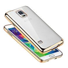Custodia Silicone Trasparente Ultra Sottile Cover Morbida H01 per Samsung Galaxy S5 Duos Plus Oro