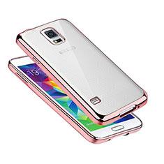 Custodia Silicone Trasparente Ultra Sottile Cover Morbida H01 per Samsung Galaxy S5 G900F G903F Oro Rosa