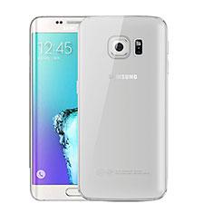 Custodia Silicone Trasparente Ultra Sottile Cover Morbida H01 per Samsung Galaxy S6 Edge+ Plus SM-G928F Grigio