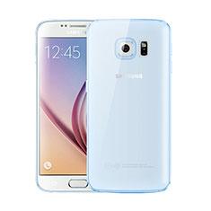 Custodia Silicone Trasparente Ultra Sottile Cover Morbida H01 per Samsung Galaxy S6 SM-G920 Blu