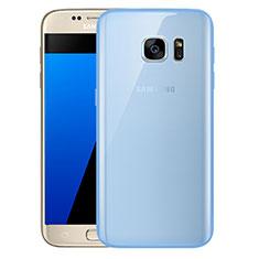 Custodia Silicone Trasparente Ultra Sottile Cover Morbida H01 per Samsung Galaxy S7 G930F G930FD Blu