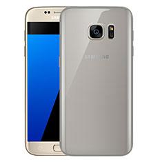 Custodia Silicone Trasparente Ultra Sottile Cover Morbida H01 per Samsung Galaxy S7 G930F G930FD Grigio