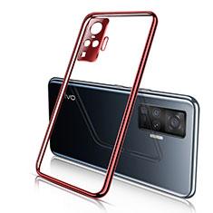 Custodia Silicone Trasparente Ultra Sottile Cover Morbida H01 per Vivo X50 Pro 5G Rosso