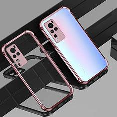 Custodia Silicone Trasparente Ultra Sottile Cover Morbida H01 per Vivo X60 Pro 5G Oro Rosa