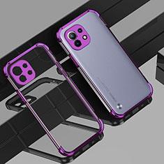 Custodia Silicone Trasparente Ultra Sottile Cover Morbida H01 per Xiaomi Mi 11 5G Viola