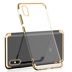 Custodia Silicone Trasparente Ultra Sottile Cover Morbida H01 per Xiaomi Mi 8 Explorer Oro