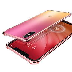 Custodia Silicone Trasparente Ultra Sottile Cover Morbida H01 per Xiaomi Mi 8 Screen Fingerprint Edition Oro Rosa