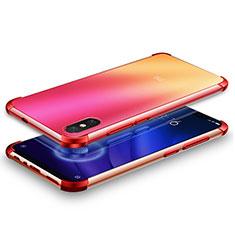 Custodia Silicone Trasparente Ultra Sottile Cover Morbida H01 per Xiaomi Mi 8 Screen Fingerprint Edition Rosso