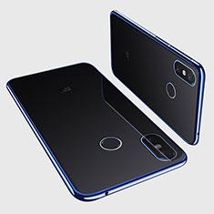 Custodia Silicone Trasparente Ultra Sottile Cover Morbida H01 per Xiaomi Mi Max 3 Blu