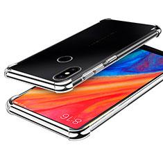 Custodia Silicone Trasparente Ultra Sottile Cover Morbida H01 per Xiaomi Mi Mix 2S Argento