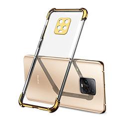 Custodia Silicone Trasparente Ultra Sottile Cover Morbida H01 per Xiaomi Redmi 10X Pro 5G Oro