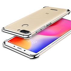 Custodia Silicone Trasparente Ultra Sottile Cover Morbida H01 per Xiaomi Redmi 6 Argento